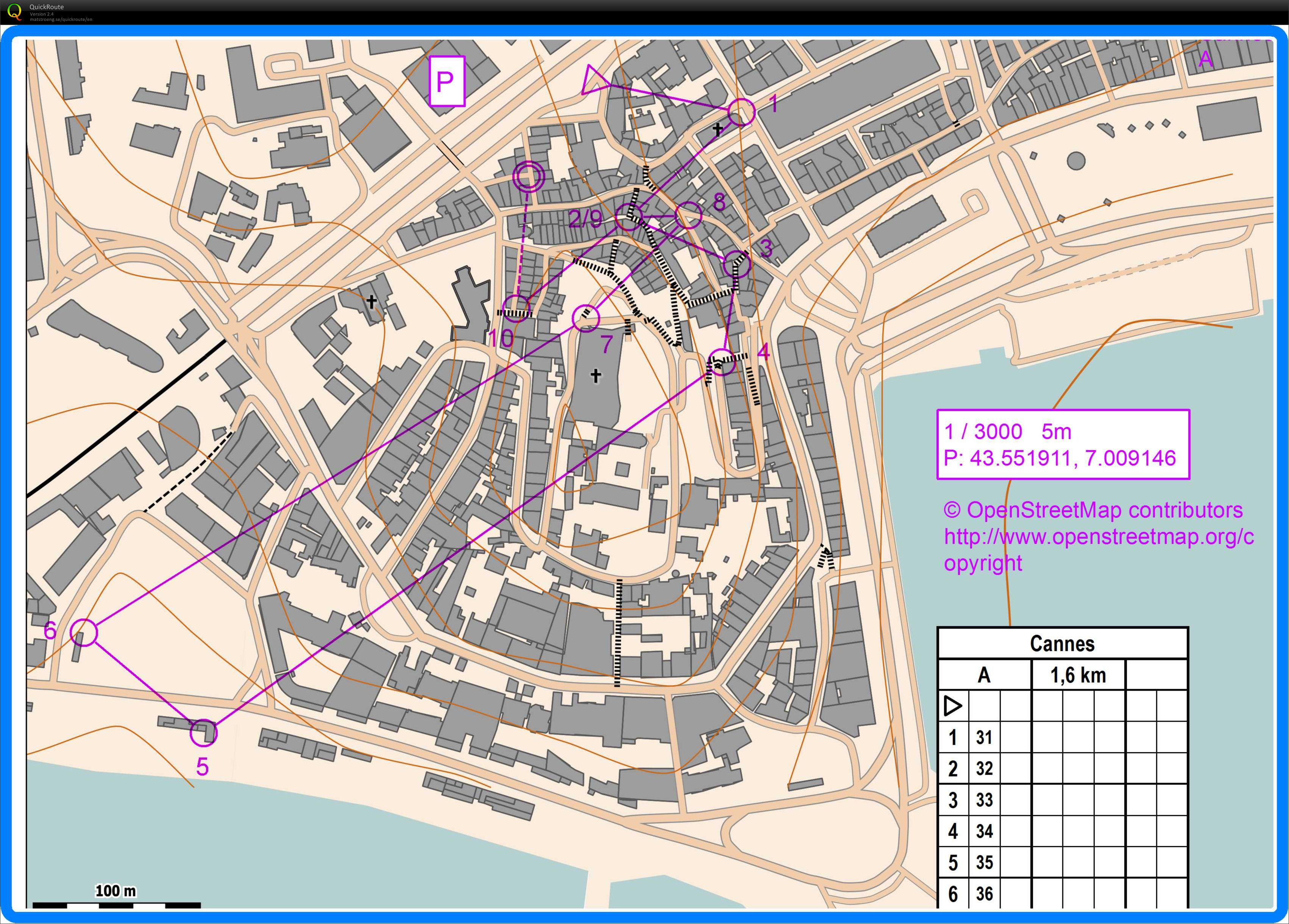 Cannes old town December 12th 2012 Orienteering Map from Jens